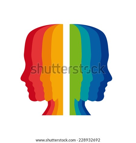 Vector sign psychologist, colored heads - stock vector