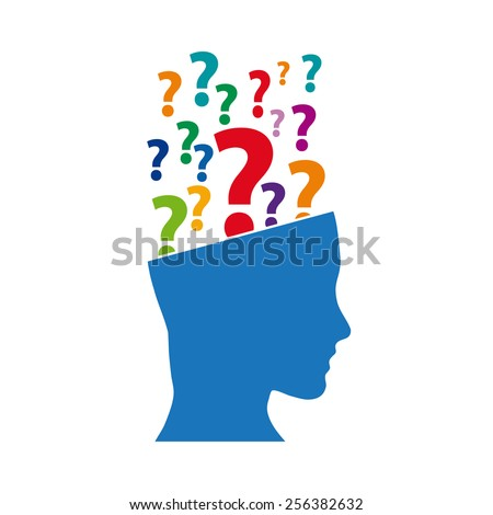 Vector sign question mark in the head - stock vector