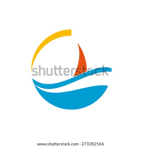 Vector sign sailing ship