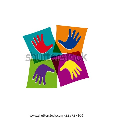 Vector sign Teamwork and friendship - stock vector