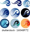 vector sign with abstract waves in nine variations - stock vector