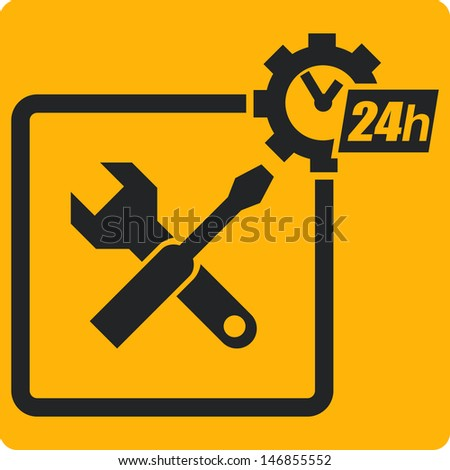 Vector sign with tools repairs and service. - stock vector
