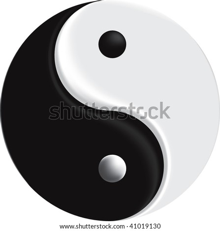 vector sign yin yang mesh - stock vector