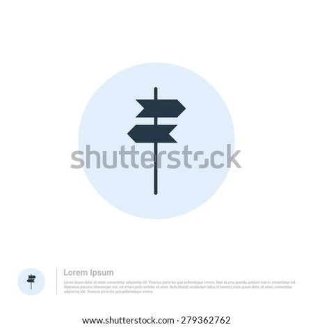 vector signpost icon thin line for web and mobile, modern minimalistic flat design. Vector outline icon and offset colour on light white background - stock vector