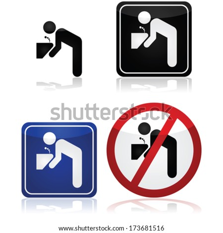 Vector signs for a water fountain, including one showing it's not safe to drink the water - stock vector