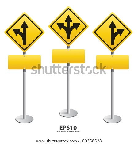 vector Signs straight, turn left, turn right