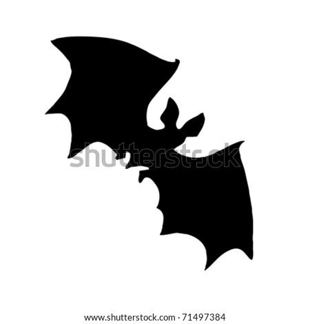 vector silhouette bat on white background - stock vector