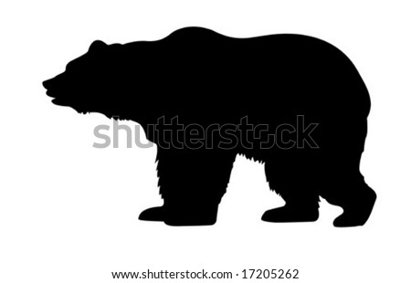 vector silhouette bear isolated on white background - stock vector