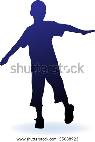 vector silhouette boy - stock vector