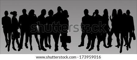 vector silhouette business people - stock vector