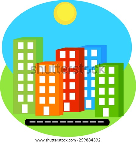 vector silhouette city bright colorful building on green and blue background - stock vector