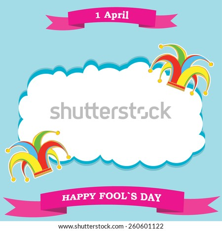 vector silhouette colorful clowns hat and ribbon on cloud for happy fools day - stock vector