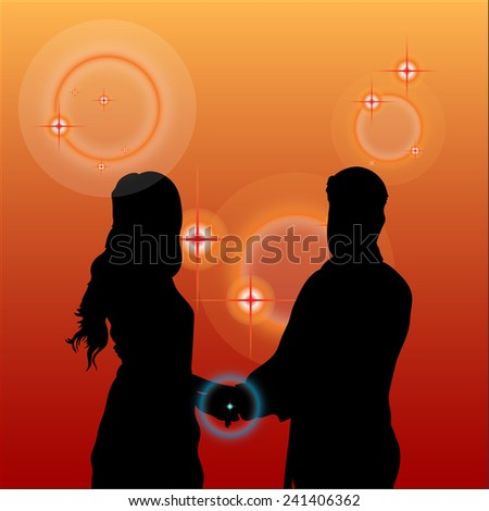 Vector silhouette couple rings evening. - stock vector