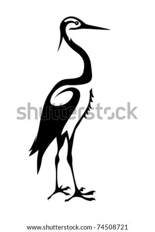 vector silhouette crane on white background - stock vector