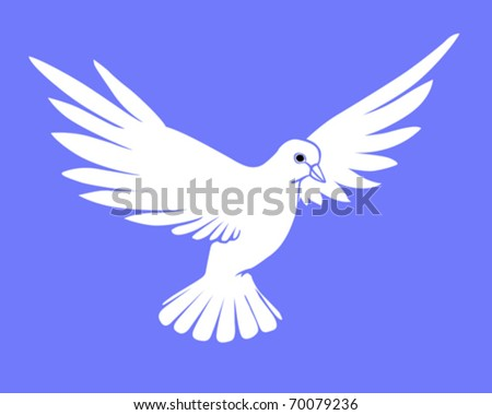 vector silhouette dove on blue background - stock vector