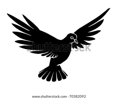 vector silhouette dove on white background - stock vector