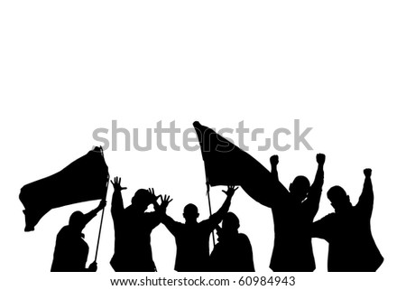 Vector silhouette from some sport fans - stock vector