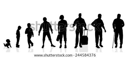 Vector silhouette generation men on a white background.
