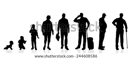 Vector silhouette generation men on a white background. - stock vector