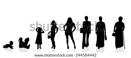 Vector silhouette generation women on a white background. - stock vector