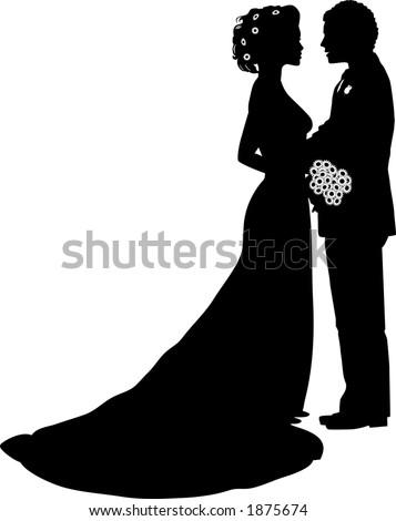 Vector Silhouette Graphic Depicting Bride Groom Stock ...