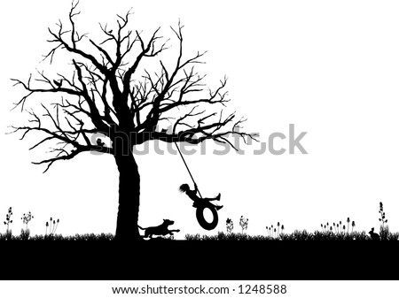 vector silhouette graphic depicting a child playing on a tire swing - stock vector