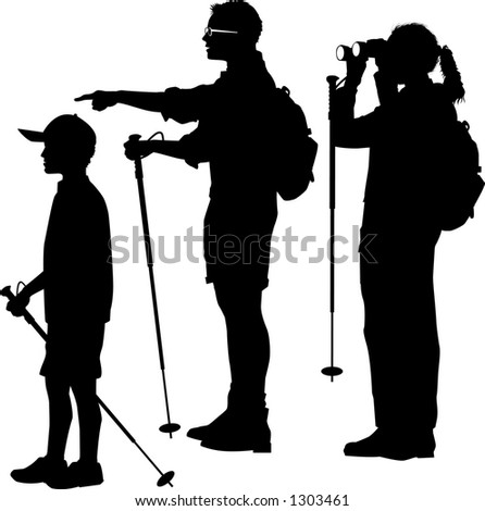 Vector Silhouette Graphic Depicting A Family Of Hikers BW