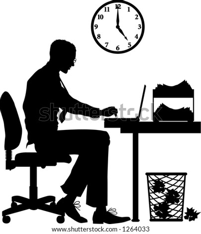 Vector silhouette graphic depicting a male office worker, typing - stock vector