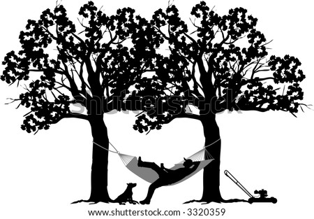 vector silhouette graphic depicting a man resting in a backyard hammock - stock vector