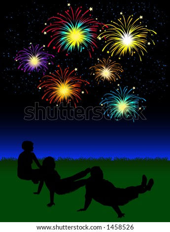 vector silhouette graphic depicting a people watching a fireworks display - stock vector