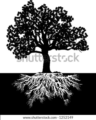 Vector silhouette graphic depicting a tree and roots (concept: growth or development) - stock vector