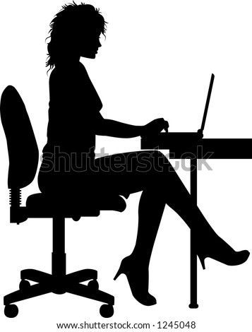 vector silhouette graphic depicting a woman typing at a laptop - stock vector
