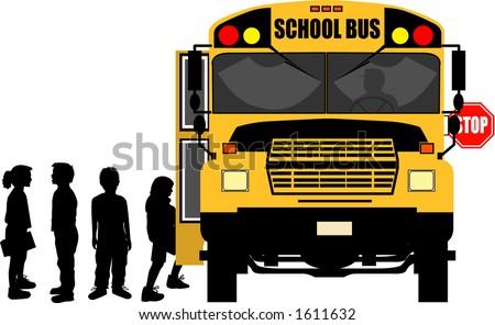 vector silhouette graphic depicting children boarding a school bus (concept: school days) - stock vector