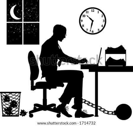 Vector silhouette graphic depicting concept: overworked - stock vector