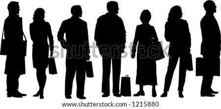 vector silhouette graphic depicting people waiting at a transit stop - stock vector