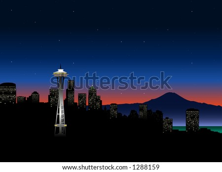 vector silhouette graphic depicting the Seattle skyline (color) - stock vector