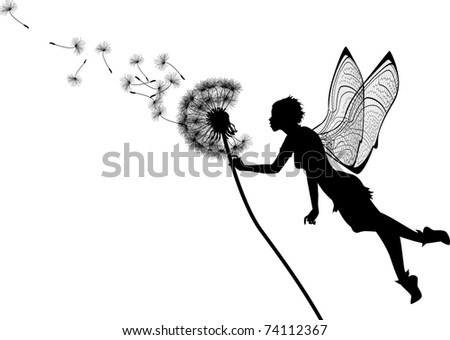 vector silhouette graphic illustration depicting a dandelion and a fairy - stock vector