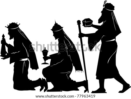 Vector silhouette graphic illustration depicting the three wise men offering gifts - stock vector