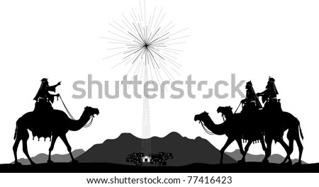 Vector silhouette graphic illustration depicting the three wise men on camels following the shining star of Bethlehem - stock vector