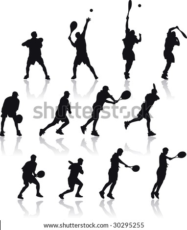 Vector Silhouette illustration of basic tennis shoots isolated on white background - stock vector