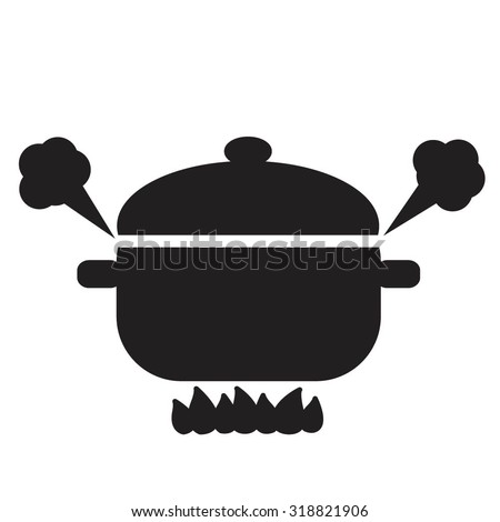 Vector silhouette illustration of boiling pot on fire. - stock vector