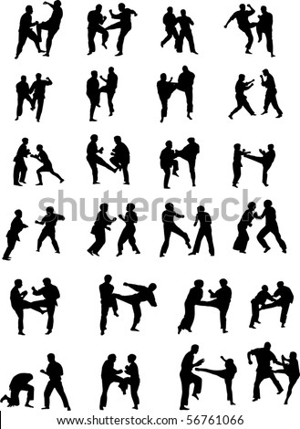 Vector Silhouette Images of Martial Art Fighters - stock vector