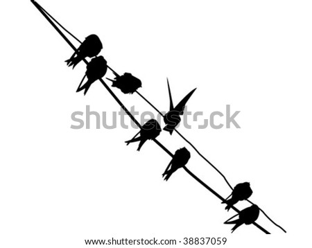 vector silhouette migrating swallow reposing on electric wire - stock vector