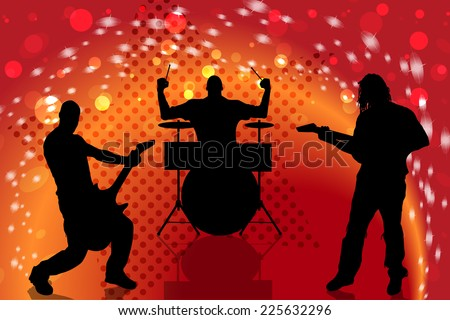 Vector silhouette musical group that plays on stage. - stock vector
