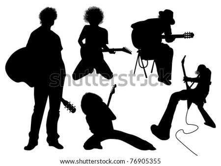 vector silhouette musician with guitar - stock vector