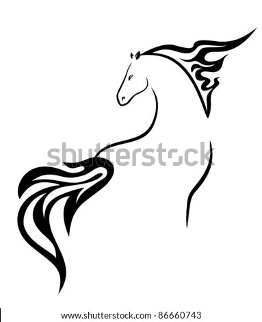 vector silhouette of a beautiful horse - stock vector