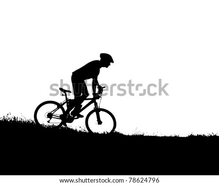 vector silhouette of a biker - stock vector