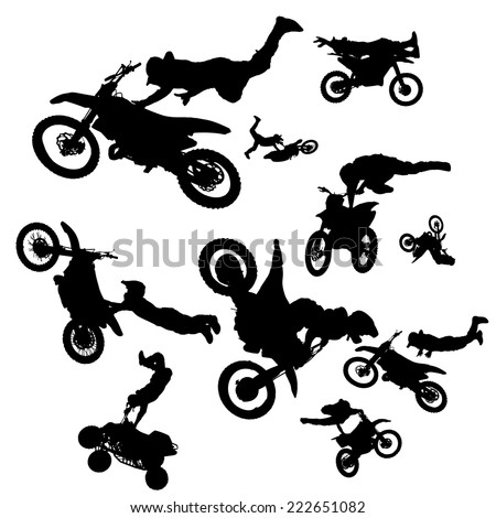 vector silhouette of a biker who jumps into the air. - stock vector