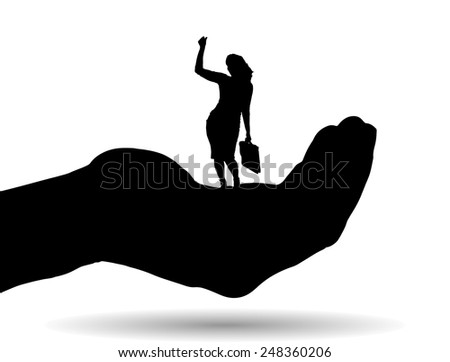 Vector silhouette of a businesswoman on palm on white background. - stock vector