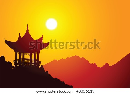 Vector silhouette of a chinese pavilion - stock vector